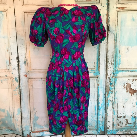 80s gray silk shift dress  vintage poppy print dress  puff sleeve silk dress